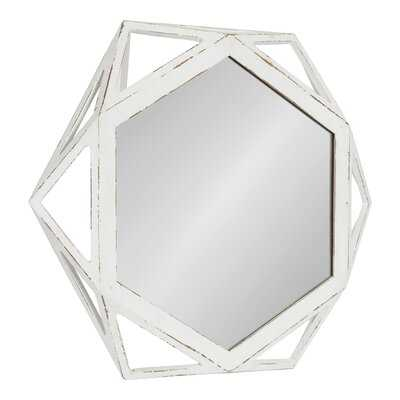 Turk Rustic-Modern Geometric Octagon Shaped Wood Accent Wall Mirror, Distressed Antique White, 24x27-inches - Wayfair