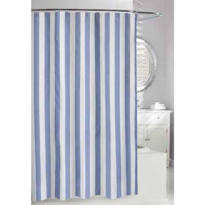 Moda at Home Lauren Stripe 71 in. Blue and White Fabric Shower Curtain, Blue + White - Home Depot