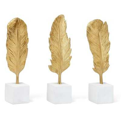 Maselli Golden Feather Statuaries - Set of 3 - Wayfair