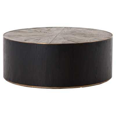 Oldman Rustic Lodge Black Brown Round Oak Wood Coffee Table - Kathy Kuo Home