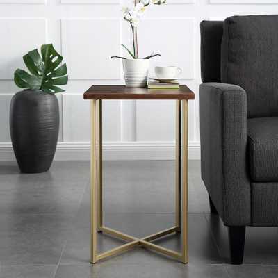 16 in. Dark Walnut Top Gold Legs Square Side Table, Dark Walnut/Gold - Home Depot