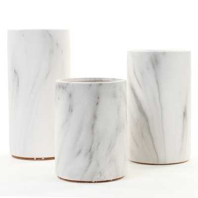 Kangley Marble Ceramic Cylinder Centerpiece 3 Piece Table Vase Set - Wayfair