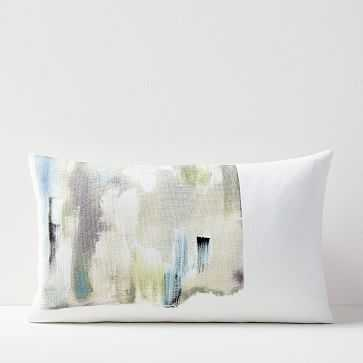 """Layered Brushstrokes Pillow Cover, Olive, 12""""x21"""" - West Elm"""
