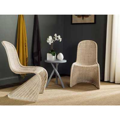 Tana Grey Rattan Dining Chair (Set of 2), Gray - Home Depot