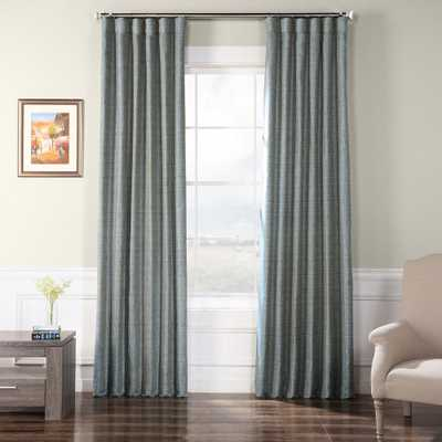 Exclusive Fabrics & Furnishings Heron Blue Faux Raw Silk Curtain - 50 in. W x 108 in. L - Home Depot
