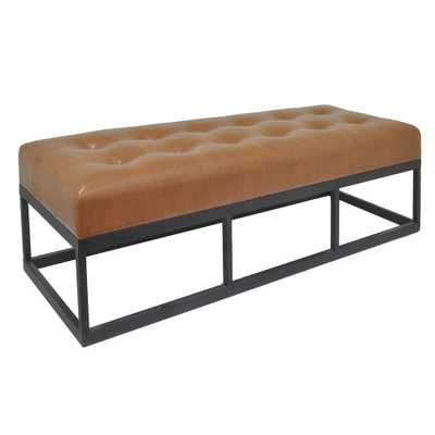 19 in. Brown Bench with Metal Frame - Home Depot