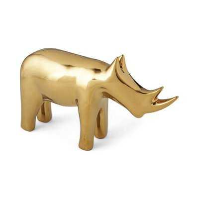 Smelley Rhino Gold Decorative Figurine - AllModern