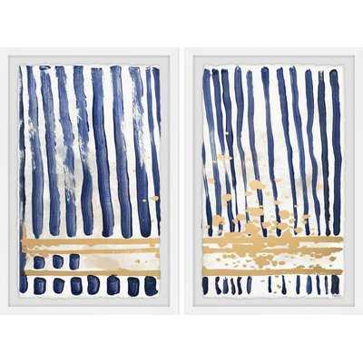 'Blue Verticals' Diptych - Wayfair