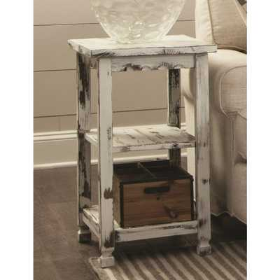 Country Cottage White Antique 2 Shelf End Table - Home Depot