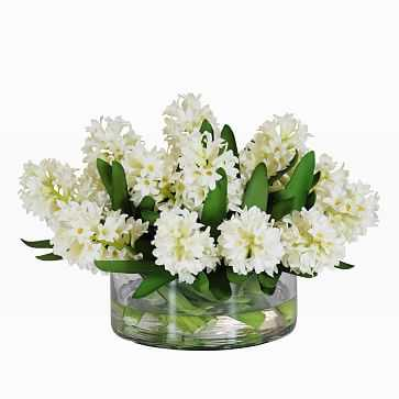 Faux Hyacinth in Large Vase, White - West Elm