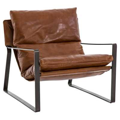 Annie Industrial Loft Brown Leather Sling Style Cushioned Metal Armchair - Kathy Kuo Home