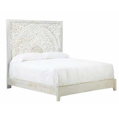 Chennai White Wash King Platform Bed - Home Depot