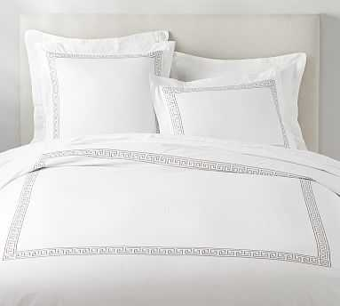 Geo Embroidered Organic Duvet Cover, King/Cal King, Simply Taupe - Pottery Barn