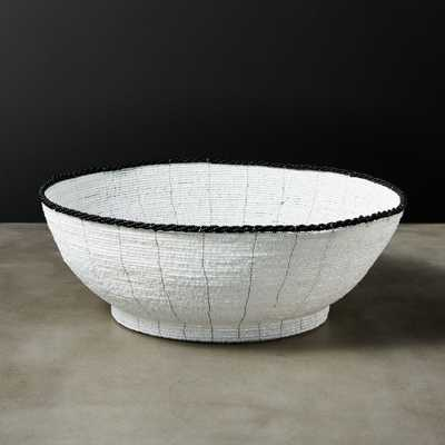 Pearl Beaded White Bread Basket - CB2