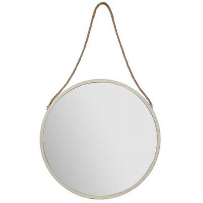 30 Metal Wall Mirror with Rustic Hanging Rope White - Gallery Solutions - Target