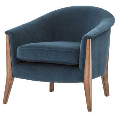Oana French Modern Rolled Edge Blue Armchair - Kathy Kuo Home