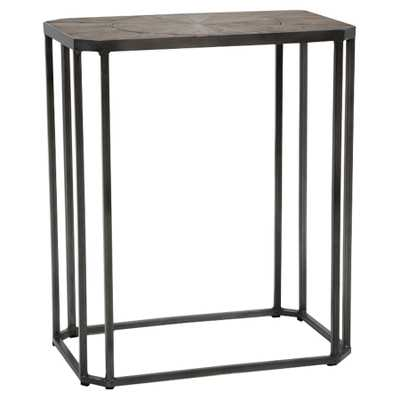 Lucas Industrial Rustic Aged Pine Top Black Metal Side Table - Kathy Kuo Home