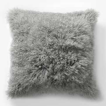 "Mongolian Lamb Pillow Cover, 16""x16"" Platinum - West Elm"