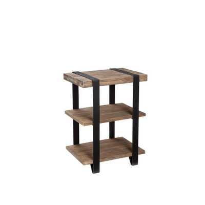 Modesto Natural Storage End Table, Rustic/Natural - Home Depot