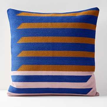 """Crewel Shadow Bars Pillow Cover, Landscape Blue, 20""""x20"""" - West Elm"""