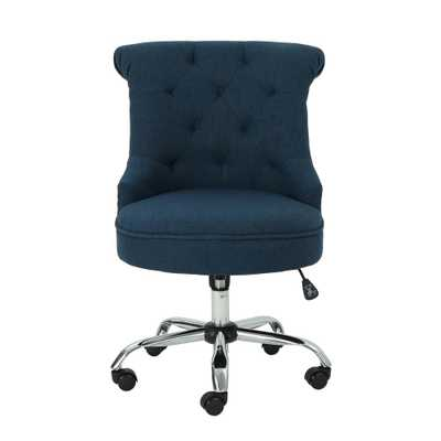 Noble House Auden Tufted Back Navy Blue Fabric Home Office Desk Chair, Navy Blue/Chrome Silver - Home Depot