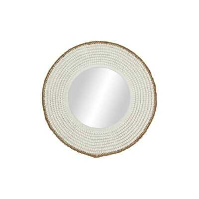 """Janesville 36"""" Large, Round Decorative Wall Mirror with White Shell Frame - Wayfair"""