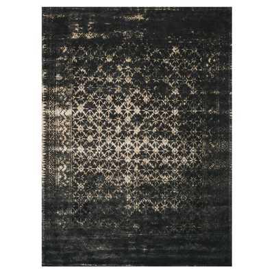 Rehema Modern Bazaar Black Ink Wash Wool Rug - 5x7'6 - Kathy Kuo Home