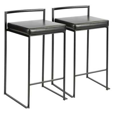 Fuji 26 in. Black Stackable Counter Stool with Black Faux Leather Cushion (Set of 2) - Home Depot
