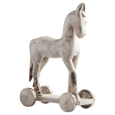 Felix French Country Antique White Wood Decorative Horse Sculpture - Small - Kathy Kuo Home