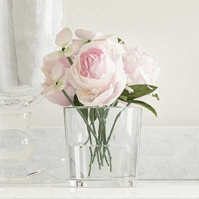 Hydrangea and Rose Floral Arrangement in Glass Vase - Birch Lane