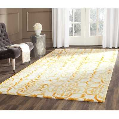 Naples Park Abstract Hand-Knotted Wool Ivory/Gold Area Rug - Birch Lane