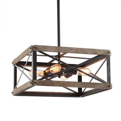LNC 4-Light Black Wood Kitchen Island Lighting Rustic Chandelier - Home Depot