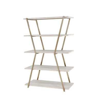 Furniture of America Dayer Modern Gold Display Bookcase, Beige - Home Depot