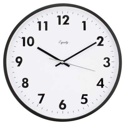 14 in. Commercial Black Analog Wall Clock, Blacks - Home Depot