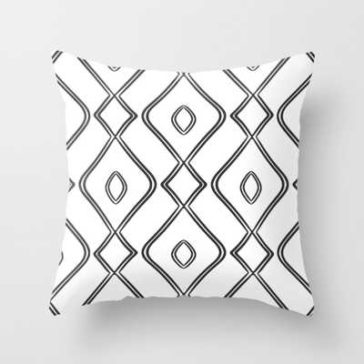"""Modern Boho Ogee in Black and White Throw Pillow - Indoor Cover (18"""" x 18"""") with pillow insert by Beckybailey1 - Society6"""