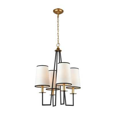Titan Lighting Nico 4-Light Oiled Bronze and Gold Leaf Chandelier with Ecru Shade - Home Depot