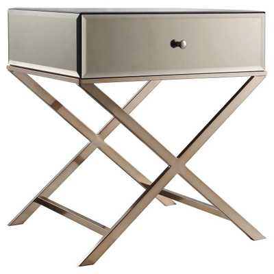 Whitney Mirrored Campaign Accent Table Brass - Inspire Q - Target