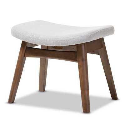 "Vera Mid - Century Modern Fabric Upholstered Ottoman - Light Gray, ""Walnut"" Brown - Baxton Studio, Light Grey - Target"