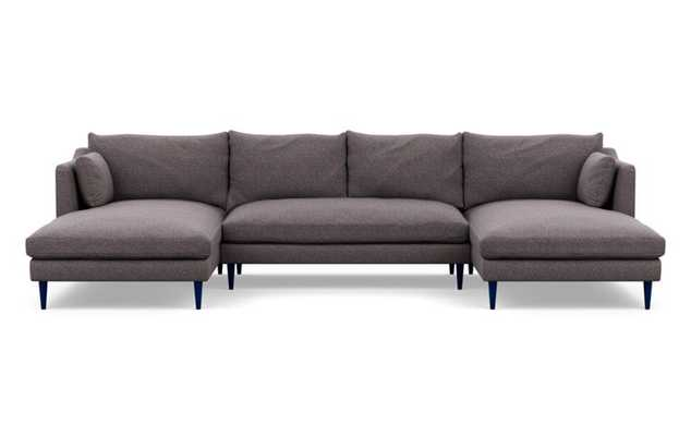 Caitlin by The Everygirl U-Sectional with Boysen Fabric and Matte Indigo legs - Interior Define