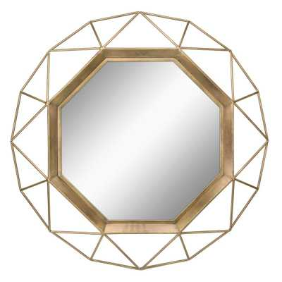 Geometric Antique Gold Decorative Wall Mirror - Home Depot