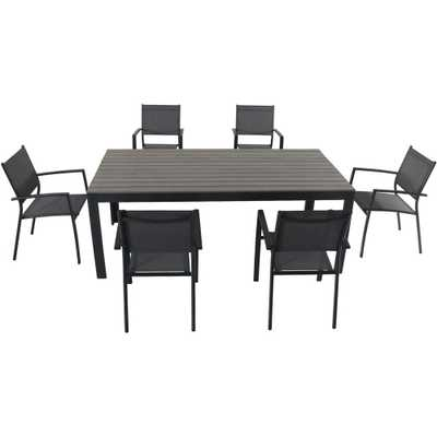 Hanover Tucson 7-Piece Aluminum Outdoor Dining Set with 6-Sling Arm Chairs and a Faux Wood Dining Table - Home Depot