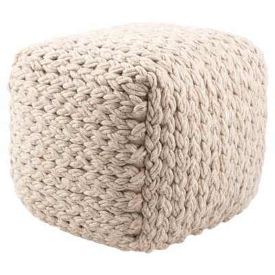 Kyran Cream Textured Square Pouf - Collective Weavers