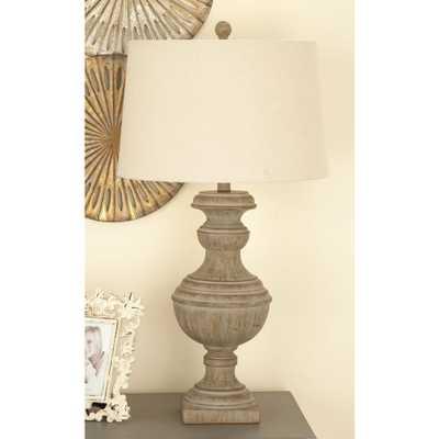 30 in. Classic Elegance Drum-Type Polystone Table Lamp in Distressed Dark Brown - Home Depot