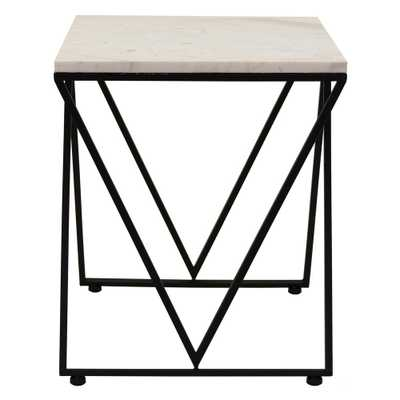 18 in. Metal and Marble Accent Table, Black - Home Depot