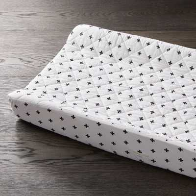 Black Plus Sign Changing Pad Cover - Crate and Barrel