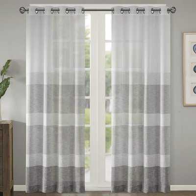 Augustus Striped Sheer Grommet Single Curtain Panel - AllModern