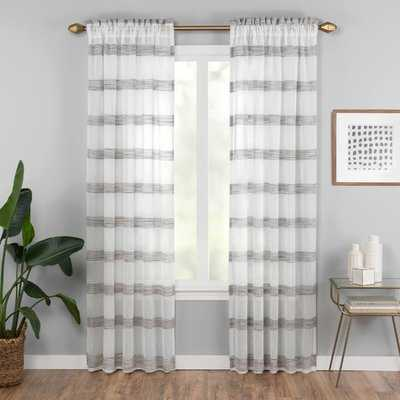 Hawkinsville Window Striped Semi-Sheer Rod Pocket Single Curtain Panel - Birch Lane