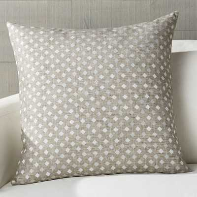 """Sander Grey Embroidered Pillow with Down-Alternative Insert 23"""" - Crate and Barrel"""