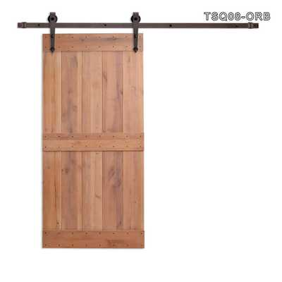 CALHOME 36 in. x 84 in. Vertical Slat 2-Panel Primed Natural Wood Sliding Barn Door with Sliding Door Hardware Kit, Tsq08-Orb - Home Depot