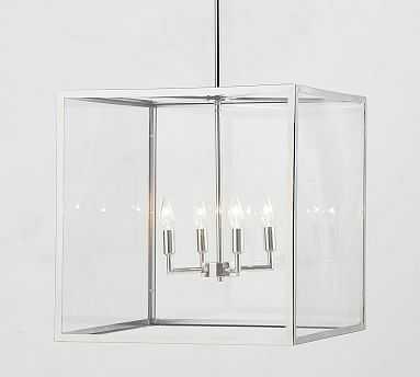 """Manor Indoor/Outdoor Glass Grand Pendant, Antique Nickel, 20"""" Diameter - Pottery Barn"""